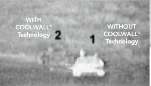 compares cool wall covered tank with a non covered tank